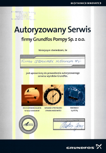 Certyfikat Grundfos Granimex